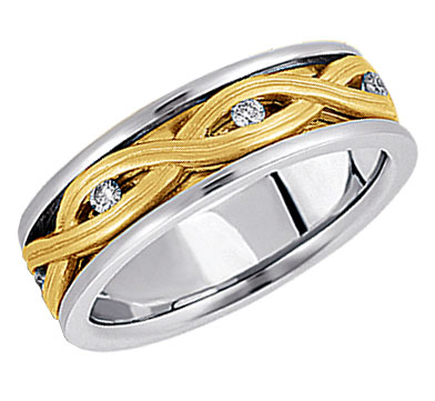 Diamond Braided Wedding Band in 14K Two Tone Gold