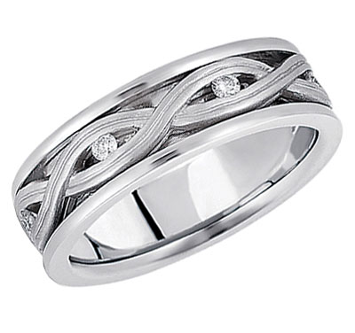 Silver Braided Diamond Wedding Band