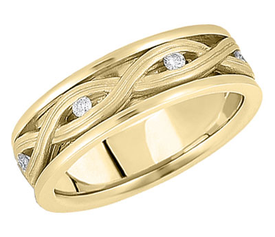 Woven Diamond Wedding Band in 14K Yellow Gold