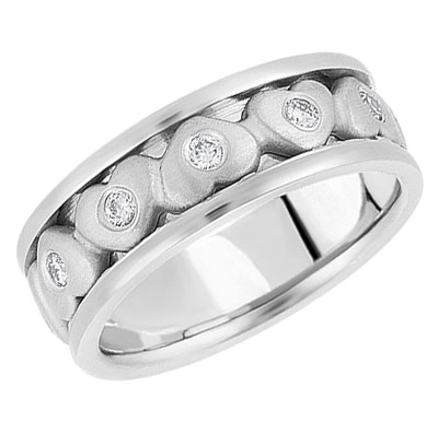 Silver Heart Diamond Wedding Band