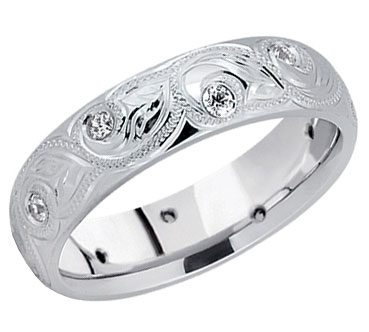 Paisley Leaf Diamond Wedding Band 14K White Gold
