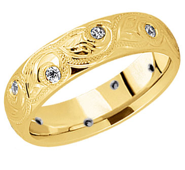 Paisley Diamond Wedding Band in 14K Gold