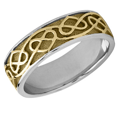 Celtic Heart Wedding Band, 14K Two-Tone Gold