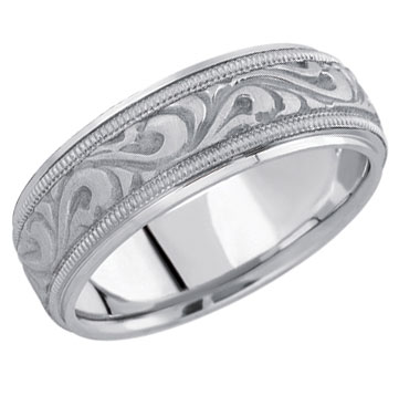 Carved Paisley Wedding Band 14K White Gold