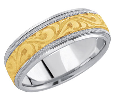 18K Two-Tone Gold Paisley Carved Wedding Band