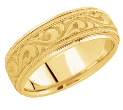 18K Yellow Gold Carved Paisley Wedding Band