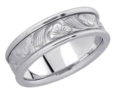 Carved Flower Wedding Band in 14K White Gold