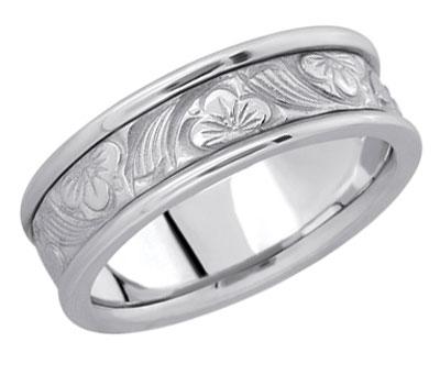 Silver Flower Wedding Band