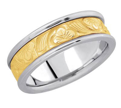 Floral Filigree Wedding Band in 14K Two-Tone Gold