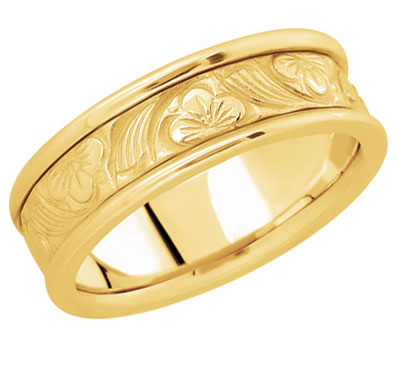 Flower-Carved Wedding Band in 14K Gold