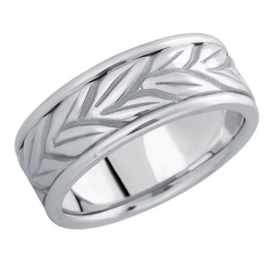 18K White Gold Carved Vine Wedding Band