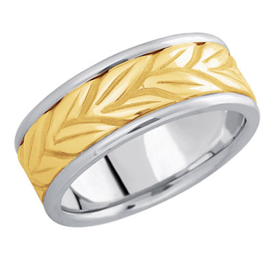 Floral Vine Wedding Band in 14K Two-Tone Gold