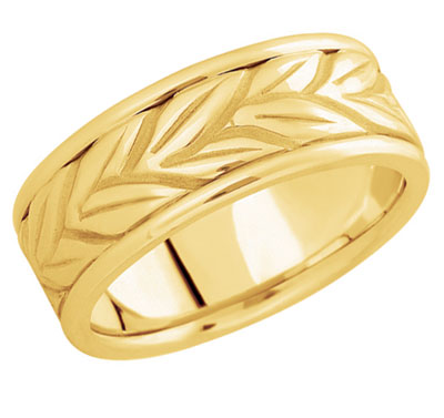 Leaf-Carved Wedding Band in 14K Gold
