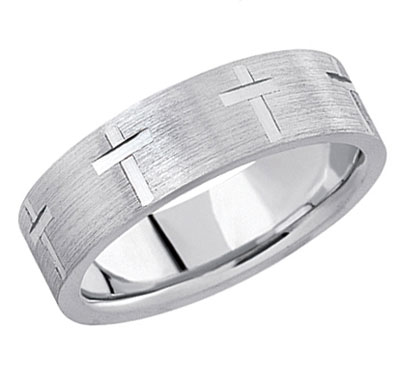 Platinum Etched Cross Wedding Band Ring
