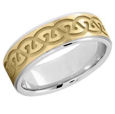Carved Celtic Wedding Band in 14K Two Tone Gold