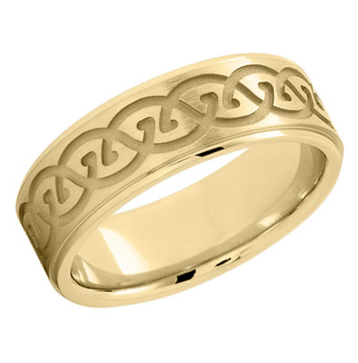 18K Gold Sculpted Celtic Wedding Band Ring