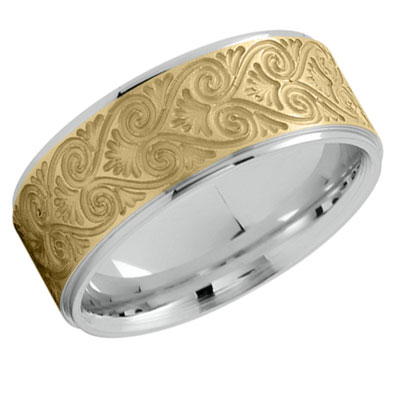 Artisan Heart Etched Wedding Band 14K Two-Tone Gold