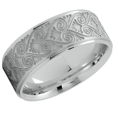 Platinum Scrollwork Heart Wedding Band Ring