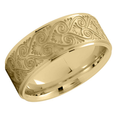 18K Yellow Gold Filigree Heart Wedding Band Ring