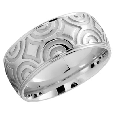 Artisan Contours Wedding Band in 14K White Gold