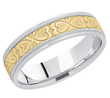 Two Heart Wedding Band in 14K Two Tone Gold