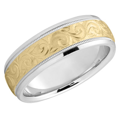 Etched Paisley Wedding Band in 14K Two Tone Gold