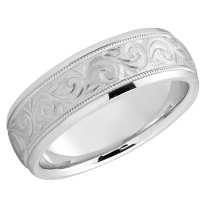 Sweeping Paisley Wedding Band in 14K White Gold
