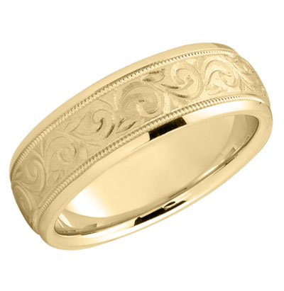 Paisley Swirls Wedding Band in 14K Gold