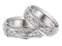 Platinum Paisley Wedding Band Ring Set for Men and Women
