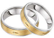 Christian Cross Wedding Band Set, 14K Two-Tone Gold