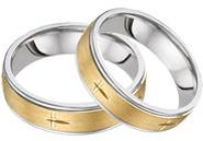 Christian Cross Wedding Band Set, 14K Two-Tone Gold