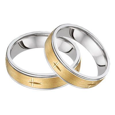 Christian Cross Wedding Band Set in Two-Tone Gold