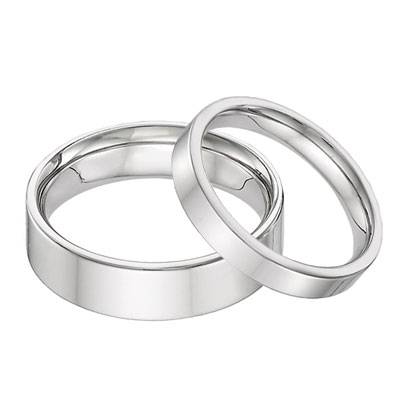 his and hers 14k white gold flat wedding band ring set - 14k Gold Wedding Ring Sets