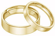 His and Hers 14K Yellow Gold Flat Wedding Band Ring Set