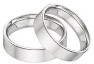 14K White Gold Flat Wedding Band Set - 6mm