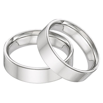 Flat 6mm Wedding Band Ring 14K White Gold