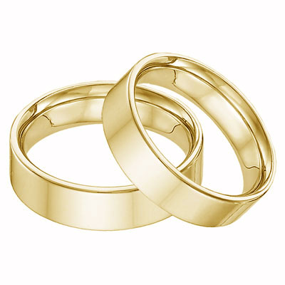 14K Yellow Gold Flat Wedding Band Set - 6mm