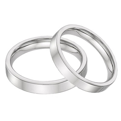 14K White Gold Flat Wedding Band Set - 4mm