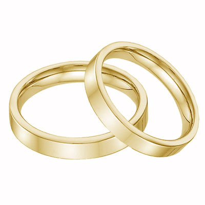 14K Yellow Gold Flat Wedding Band Set - 4mm