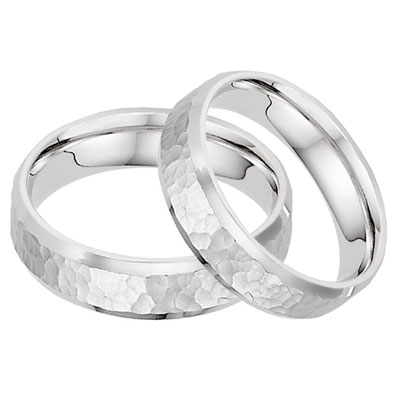 14K White Gold Hammered Wedding Band Set