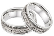 14K White Gold 7.6mm Braided Wedding Band Set