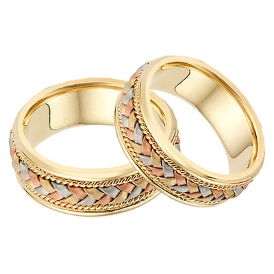 14K Tri-ColorGold Braided Wedding Band Set