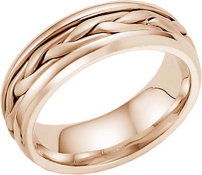 14K Rose Gold Wide Braided Braided Wedding Band Ring
