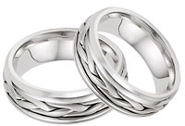 14K White Gold Wide Braided Wedding Band Set