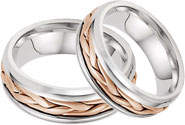 14K Rose and White Gold Wide Braided Wedding Band Set