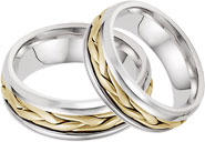 14K Two-Tone Gold Wide Braided Wedding Band Set