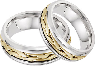 two tone gold braided his and hers wedding band ring set