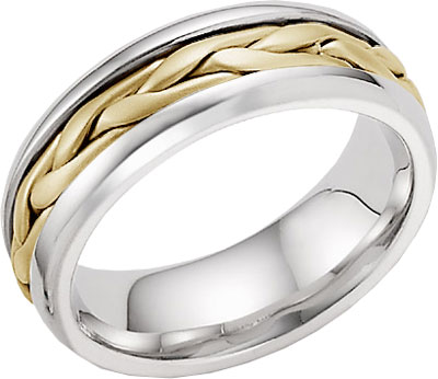 14K Two-Tone Gold Wide Braided Wedding Band Ring