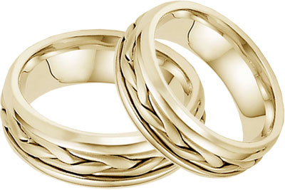 14K Yellow Gold Wide Braided Wedding Band Set