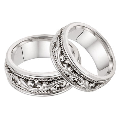 14K White Gold Paisley Wedding Band Set